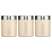 Premier Housewares Liberty Tea, Coffee and Sugar Canisters - Set of 3, Cream