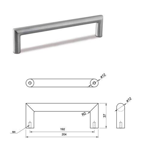 MEDIUM DOOR PULL HANDLE Stainless Steel C Bar Straight Bolt Fixing 192mm Pack of 5