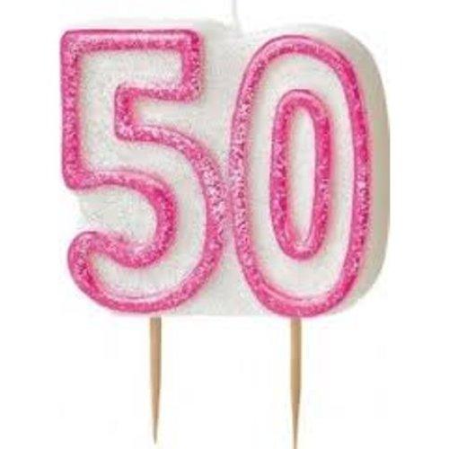 Age 50 Birthday Candle Pink Glitz