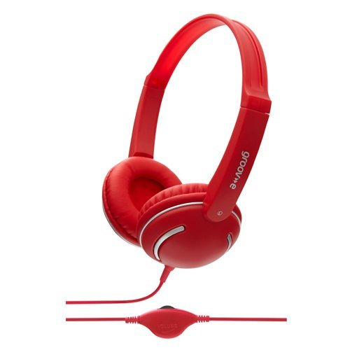 Groov-e Kids DJ Style Streetz Headphones with Volume Control - Red (GV897/RD)