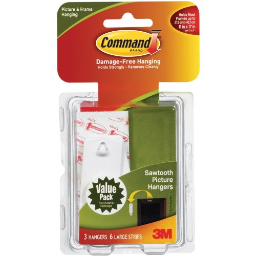 Command Large Sawtooth Picture Hangers-White 3 Hangers & 6 Strips