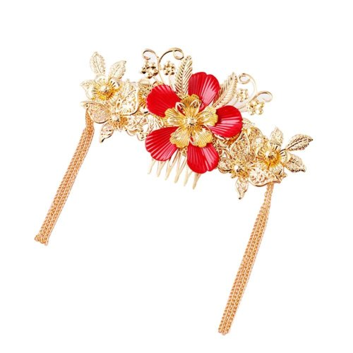 Retro Style Alloy Material Gold Plated Hair Combs with Tassel Decoration