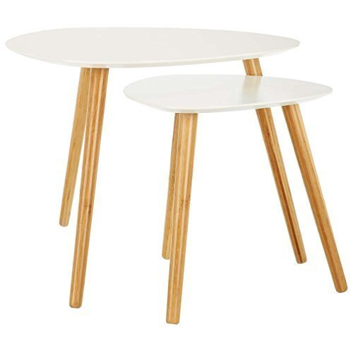 Lomos No2 Coffee Table Set In White Comprising Of 2 Side Tables Out Of Wood