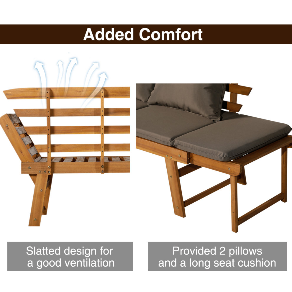 Outsunny 3 In 1 Folding Daybed Sofa Bench Acacia Wood ...
