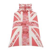 Union Jack Pink Flower Single Duvet Cover Set Polycotton