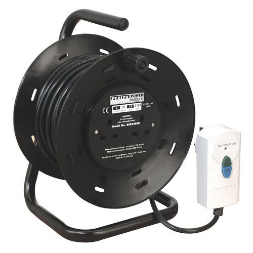 Sealey BCR25RCD 25mtr Cable Reel with RCD Plug 2 x 230V