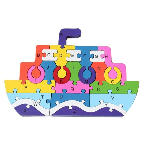 Funny Digital & Letter Wooden Blocks Puzzles Educational Puzzle Steamship