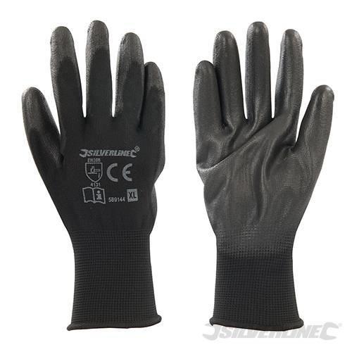 Silverline Extra Large Black Palm Gloves