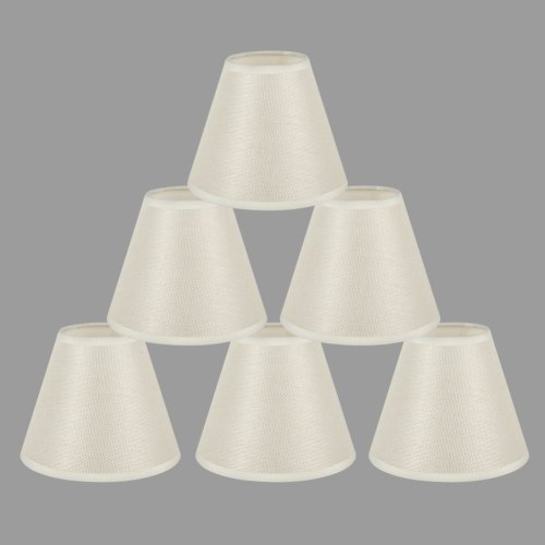 ONEPRE Cream Clip On Chandelier Lamp Shades Hardback Candle Linen Lampshade Off White 6 inch Set of 6