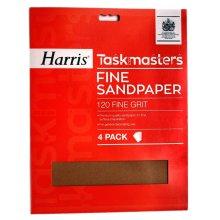 Harris Taskmasters Sandpaper 327 - Fine (Pack of 4)