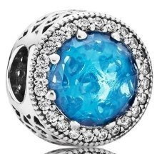 PANDORA Radiant Hearts Charm - Sky-Blue Crystal & Clear CZ - 791725NBS