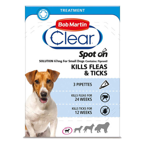 (Small Dog, Case of 6 Packs) Bob Martin Clear Spot On Dog Flea & Tick Solution
