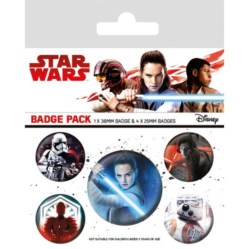 STAR WARS Official Pin Backed Badge Pack THE LAST JEDI Characters