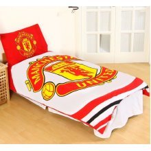 Manchester United F. C  , Reversible Single Crest Duvet Set,