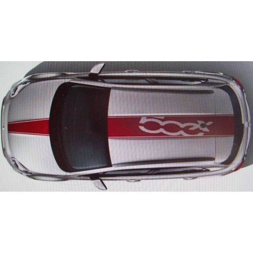 Fiat 500X Genuine Roof & Bonnet Red Decal Stripes Graphic Kit 50927498