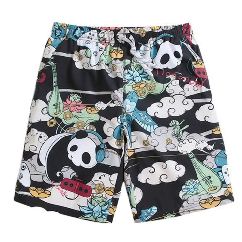 Men's Sports Casual Beach Loose Fashion Shorts, Music Pandas