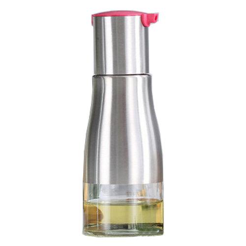 Practical Stainless Steel Glass Oil Container Vinegar Bottle Cruet, Rose Red