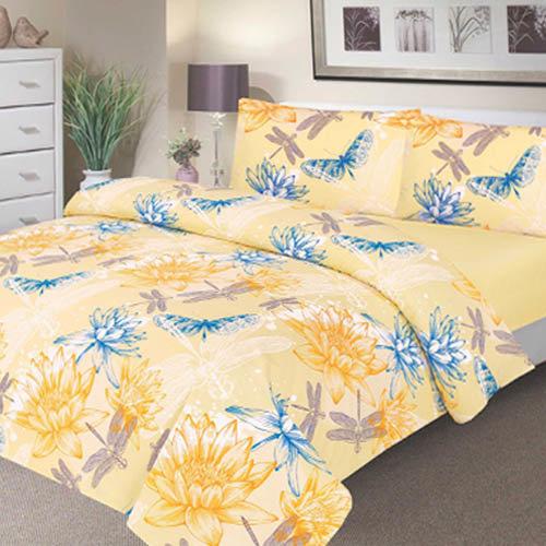 Waterproof Duvet Set - Double - Yellow Waterlily Design