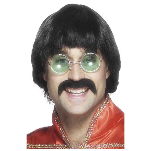 Smiffys Male 70s Mersey Wig & Tash -  wig mersey black tash fancy dress 70s 1970s smiffys costume beatles moustache