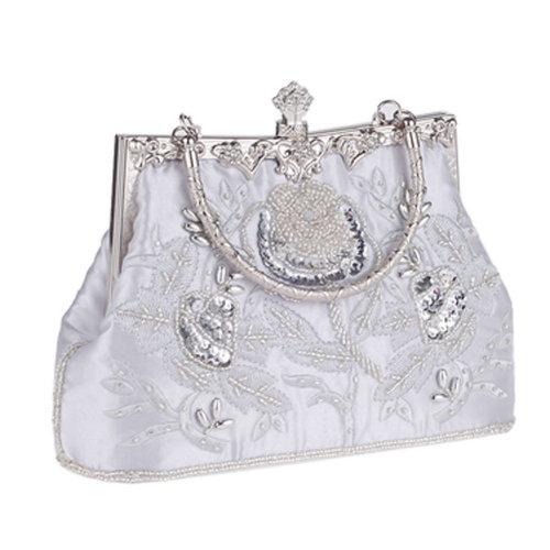 Women's Vintage Style Clutch Evening Bag Elegant Beaded Shoulder Bag Luxurious Handbag Purse,H