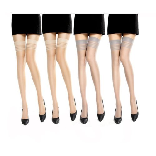 6 Pairs Women Over Knee High Stockings - Grey and Color