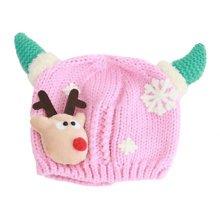 Winter Baby Kids Christmas Hats Warm Deer Crochet Caps Best Gift For 6-12 month Baby-Pink