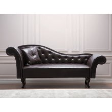 Brown Faux Leather Chaise Lounge LATTES