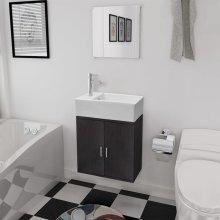 vidaXL Three Piece Bathroom Furniture and Basin Set Black