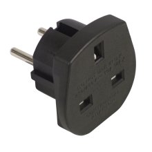 Travel Adaptor (UK to European Schuko) 10A - Colour Black