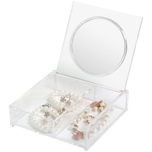 TRIXES Transparent 2 Compartment Cosmetic Organiser Storage Trinket Box