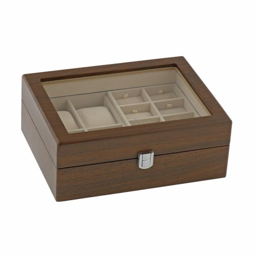 Natural Walnut Watch Collectors Box for 4 Wrist watches and 16 Pairs of Cuffliks by Aevitas