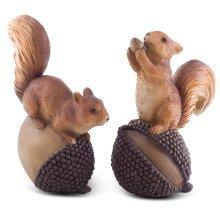 Acorn & Conker the Nut-Loving Red Squirrel Garden Ornament Pair
