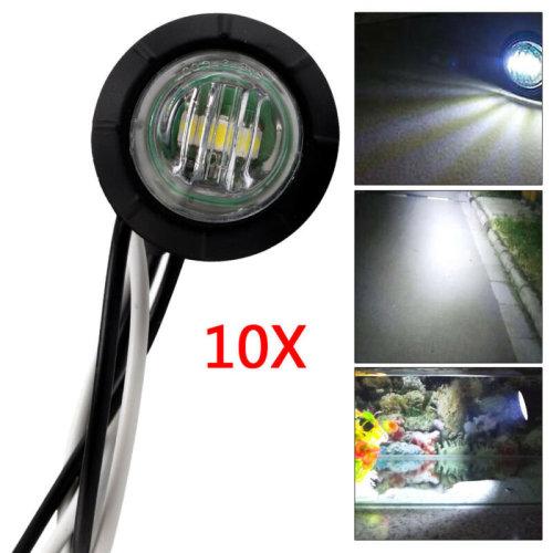 10X 24V REAR SIDE ROUND MARKER LED WHITE LIGHT LAMP FOR LORRY TRAILER TRUCK