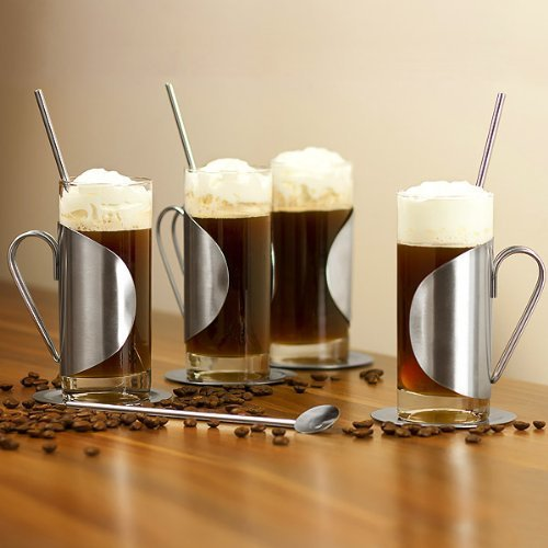 Bar At Drinkstuff Irish Coffee Glass Complete Gift Set With Set Of 4 Glasses Coasters Spoon Stirrers Irish Coffee Glasses 10oz280ml Stainless