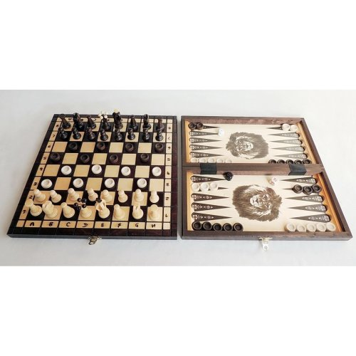3 in 1 - Wooden Chess Backgammon Draughts SET - MEDIUM