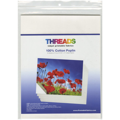 "THREADS Inkjet Printable Fabric Sheets 8.5""X11"" 6/Pkg-100% Cotton Poplin"