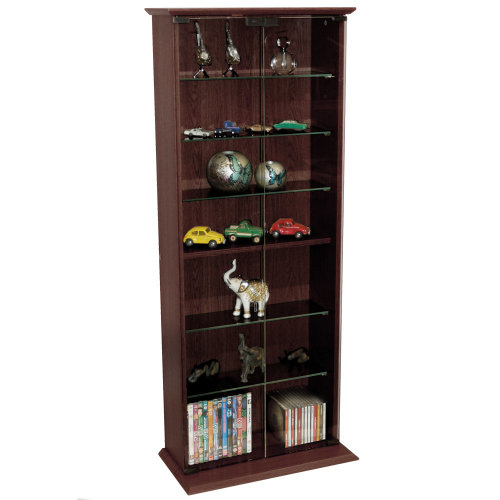 BOSTON - 116 DVD/ 316 CD Book Storage Shelves Glass / Collectable Display Cabinet - Dark Oak
