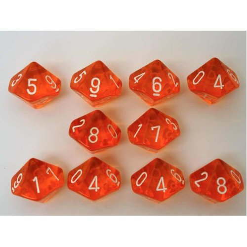 Chessex Translucent Orange/white 10 x D10 Set