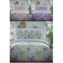Boho Butterfly Brushed Cotton Flannelette Duvet Cover Floral Flannel Bedding Set