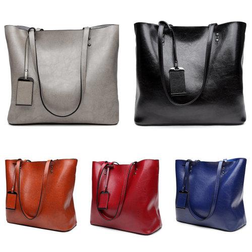 Miss Lulu Women's Zipped Faux Leather Shopper Bag
