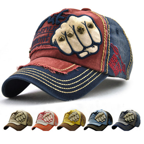 d5ff3af9637c1 Adjustable Jeans Style Unisex Cotton Baseball Caps with Embroidery denim on  OnBuy
