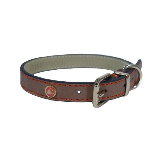 Rosewood Luxury Leather Dog Collar 10 - 14-inch, Brown