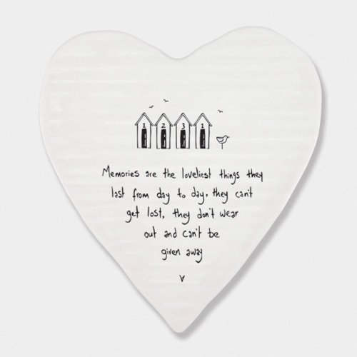 East of India Porcelein Heart Coaster 'Memories are the loveliest..' Gift