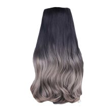 "One-piece Gradient Clip-on Hair Extensions Hairpieces 5 Clips 20"" - Grey"