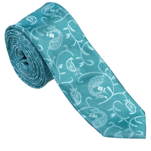 Teal Budding Paisley Slim Wedding Tie #AB-C1003/3
