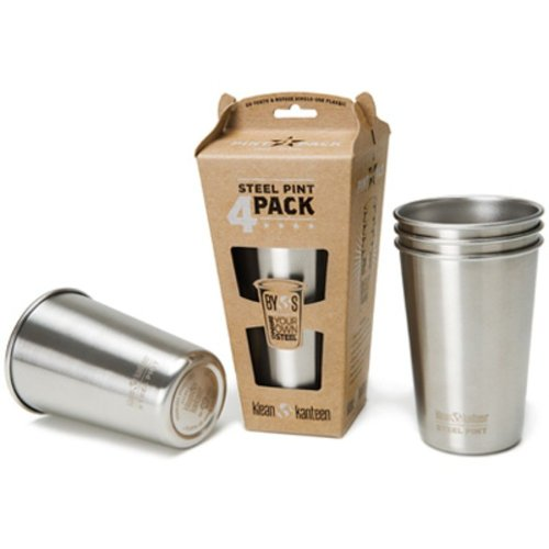 Klean Kanteen 473ml Stainless Steel Pint Cup Pack of 4 (Brush Stainless)