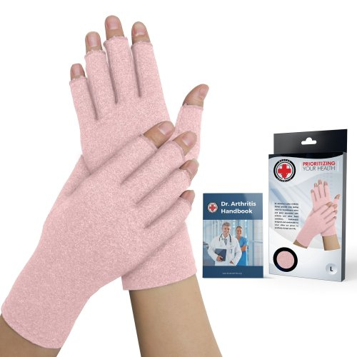 Doctor Developed Ladies Pink Arthritis Compression Gloves for Women and Doctor Written Handbook -Relieve Arthritis Symptoms, Raynauds Disease &...