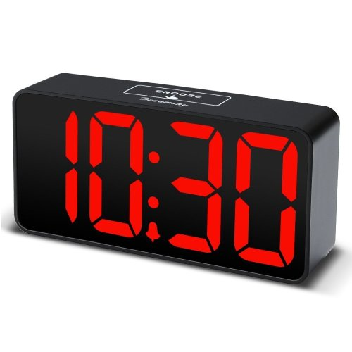 DreamSky Small LED Digital Alarm Clock with USB Port for Charging, Large Clear Red Digits Display, Loud Alarm, Adjustable Volume and Brightness,...