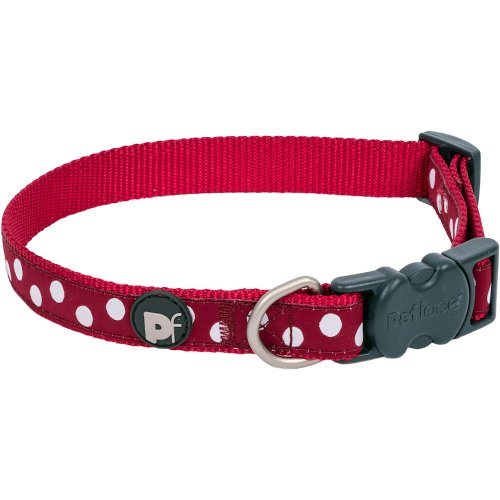 """Petface Dots Collar 8"""" To 14""""-Small-Cherry & White"""