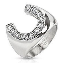 16mm Width Clear Crystal Encrusted Horseshoe Stainless Steel Ring